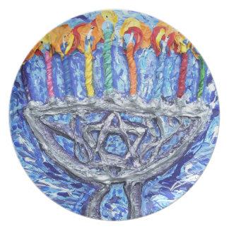 pintura original del hanukah del arte feliz del me platos