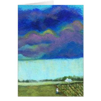 Pintura original del jardín de la granja de las nu tarjeta