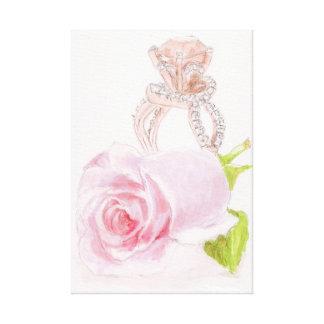 """Pintura original en lona, """"diamante rosado """" impresión en lienzo"""