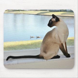 Pintura pacífica del gato siamés alfombrilla de ratones