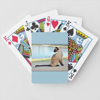 Pintura pacífica del gato siamés cartas de juego