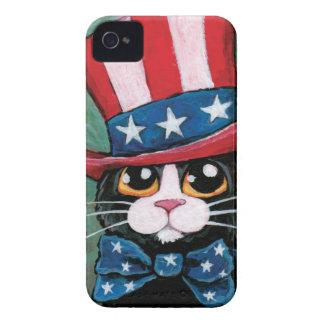 Pintura patriótica del gato del smoking Case-Mate iPhone 4 cárcasa