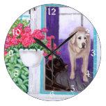 Pintura perezosa de Labradors de la tarde Reloj