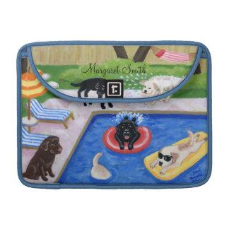 Pintura personalizada de la diversión de Labradors Fundas Para Macbooks