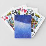 Pintura pintada extracto azul del mar del océano barajas de cartas