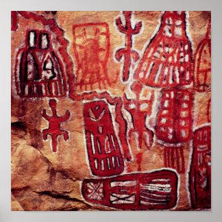 Pintura prehistórica de la roca póster