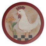 Pintura primitiva del pollo y de la flor plato para fiesta