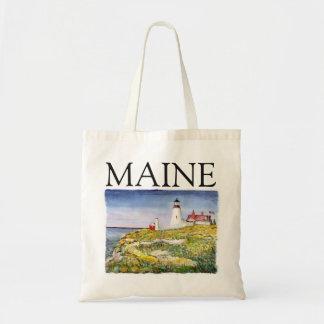 Pintura principal de la acuarela de Maine del faro Bolsa Tela Barata