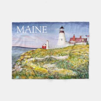 Pintura principal de la acuarela de Maine del faro Manta De Forro Polar