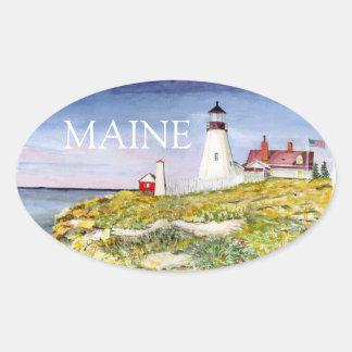 Pintura principal de la acuarela de Maine del faro Pegatina Ovalada