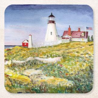 Pintura principal de la acuarela de Maine del faro Posavasos De Cartón Cuadrado