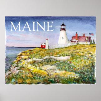 Pintura principal de la acuarela de Maine del faro Póster
