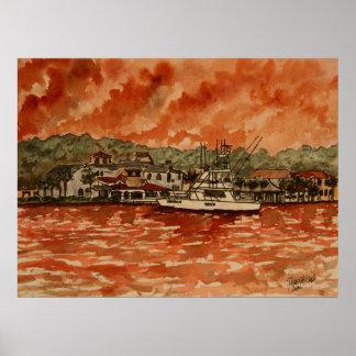 pintura profunda del barco de la pesca en mar del  impresiones