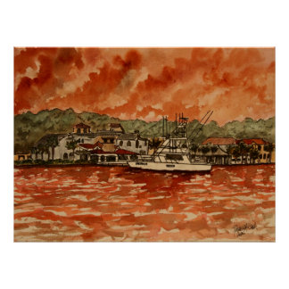 pintura profunda del barco de la pesca en mar del  póster