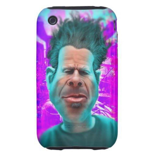 Pintura psicodélica futurista del viajero del tiem tough iPhone 3 protectores
