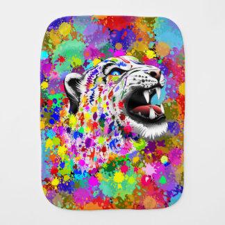 Pintura psicodélica Splats Burp_Cloth del leopardo Paños Para Bebé