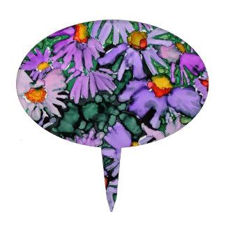 Pintura púrpura del arte de la flor del aster figuras de tarta