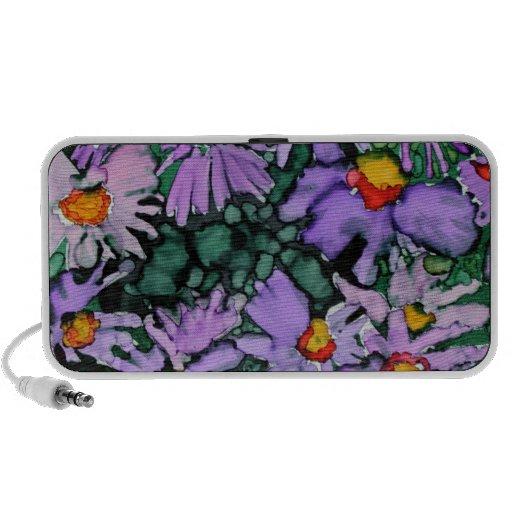 Pintura púrpura del arte de la flor del aster laptop altavoces
