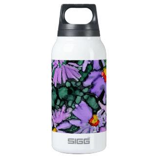 Pintura púrpura del arte de la flor del aster botella isotérmica de agua