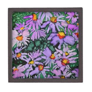 Pintura púrpura del arte de la flor del aster cajas de joyas de calidad