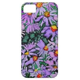 Pintura púrpura del arte de la flor del aster iPhone 5 coberturas