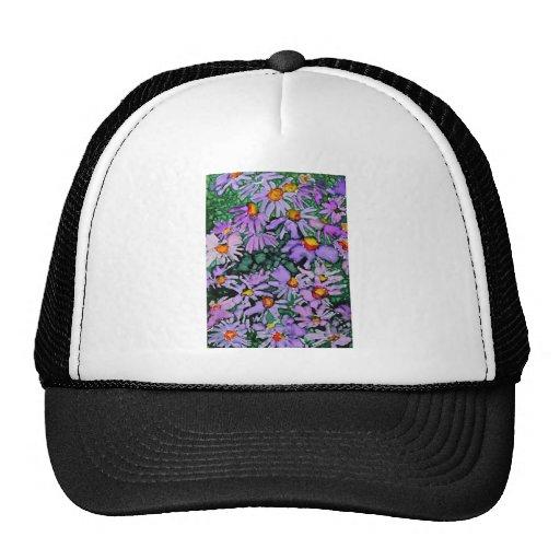 Pintura púrpura del arte de la flor del aster gorros
