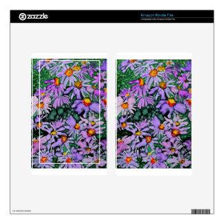Pintura púrpura del arte de la flor del aster kindle fire pegatinas skins