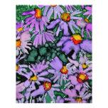 Pintura púrpura del arte de la flor del aster plantillas de membrete