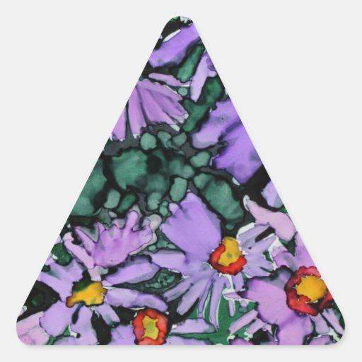 Pintura púrpura del arte de la flor del aster pegatina triangular