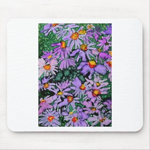 Pintura púrpura del arte de la flor del aster tapete de ratones