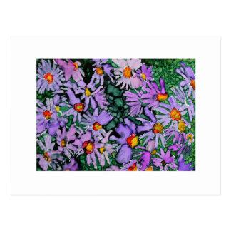 Pintura púrpura del arte de la flor del aster postal