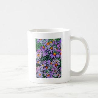 Pintura púrpura del arte de la flor del aster taza de café