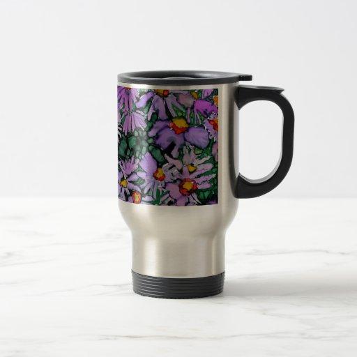 Pintura púrpura del arte de la flor del aster taza térmica