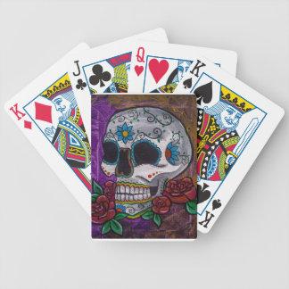 Pintura púrpura del cráneo del azúcar de las creac baraja cartas de poker