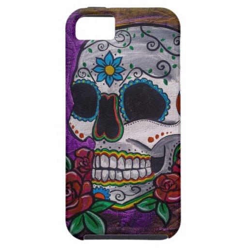 Pintura púrpura del cráneo del azúcar de las creac iPhone 5 Case-Mate cárcasas