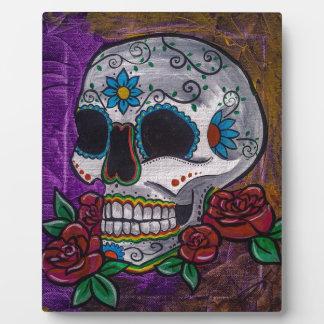 Pintura púrpura del cráneo del azúcar de las creac placa de plastico