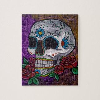 Pintura púrpura del cráneo del azúcar de las creac rompecabezas