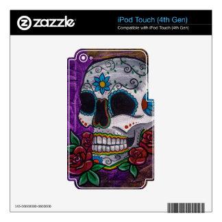 Pintura púrpura del cráneo del azúcar de las creac iPod touch 4G skins