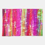 Pintura púrpura del rosa abstracto de las rayas de toalla de mano