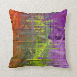 Pintura púrpura verde anaranjada del arte abstract almohada