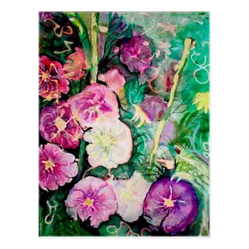 Pintura púrpura y verde de la acuarela de los Holl Postales