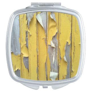 pintura que forma escamas amarilla de la pared espejos de viaje