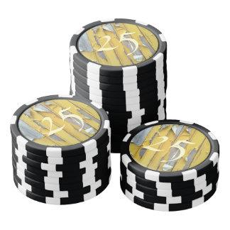 pintura que forma escamas amarilla de la pared fichas de póquer