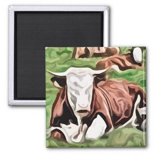 pintura que se sienta de la vaca marrón y blanca imán cuadrado