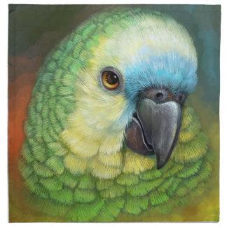 Pintura realista afrontada azul del loro del servilleta imprimida