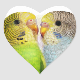 Pintura realista de los Budgerigars Pegatina En Forma De Corazón