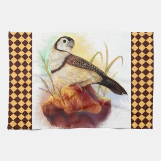Pintura realista de los pinzones del búho toallas de cocina