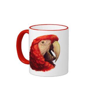 Pintura realista del loro del Macaw del escarlata Taza De Dos Colores