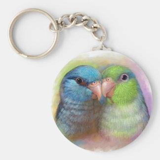 Pintura realista del loro pacífico del parrotlet llavero redondo tipo pin
