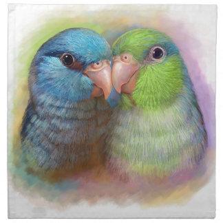 Pintura realista del loro pacífico del parrotlet servilleta imprimida
